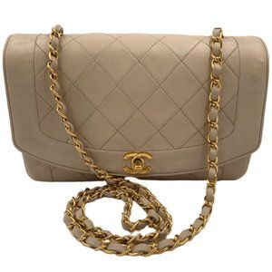Authentic Chanel Medium Diana Flap Bag Beige